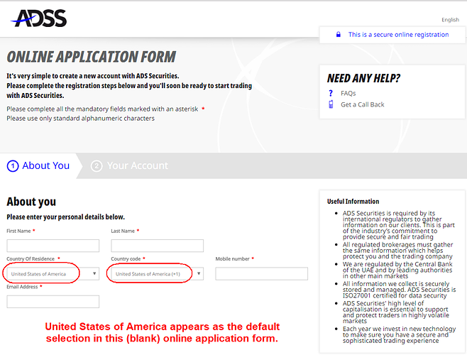 ADS Securities online application form