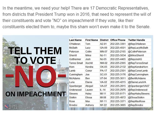 Impeachment - tell Democrats to vote no