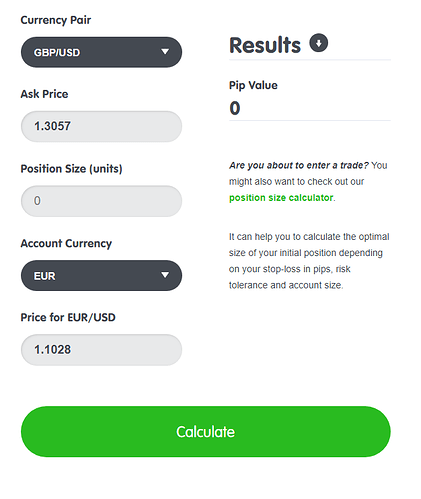 Pip value calculation - 2A