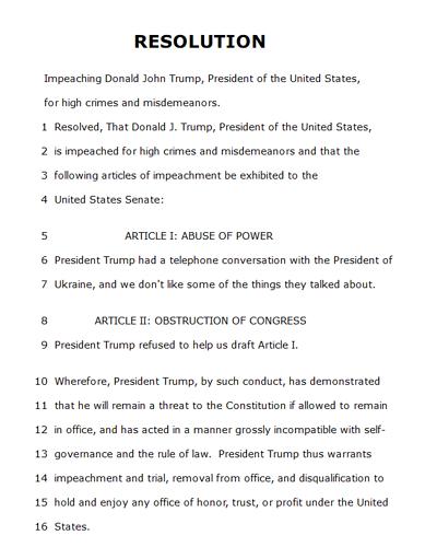 Articles of Impeachment - 1