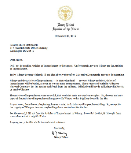 Nancy Pelosi - fake letter to Mitch McConnell